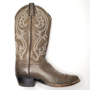 Vtg Dan Post Gray Western Boots S34
